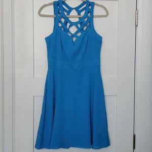 Blue Guess cage cutout fit & flare dress